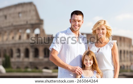 summer holidays, travel, tourism and people concept - happy family in rome over coliseum background - stock photo