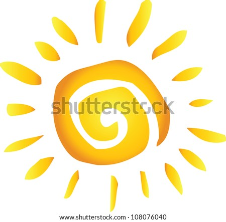 Summer Hot Abstract Sun. Raster Illustration.Vector version also available in portfolio. - stock photo
