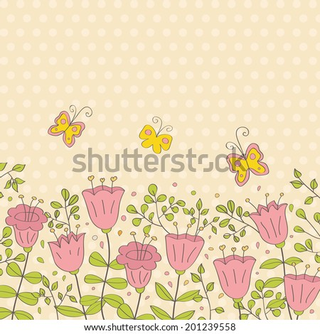 Summer illustration with flowers and butterfly. Ideal for celebration card or poster - stock photo