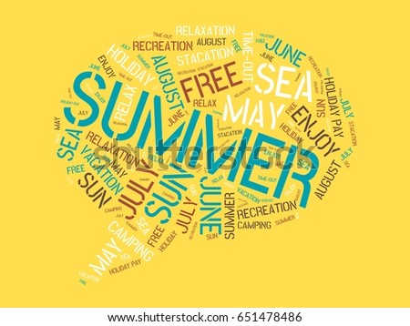 summer image with words associated with the topic summer and sun word cloud
