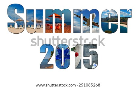 Summer images inside the word summer 2015, holiday, vacation concept - stock photo