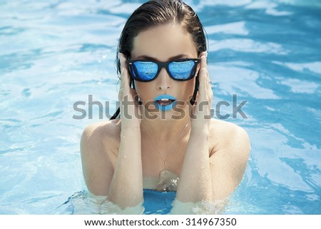 summer in pool - stock photo