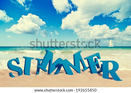 Summer in sand at the beach with vintage feel - stock photo