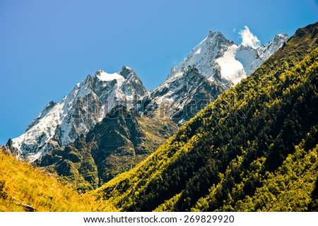 Summer in the mountains of the Caucasus - stock photo