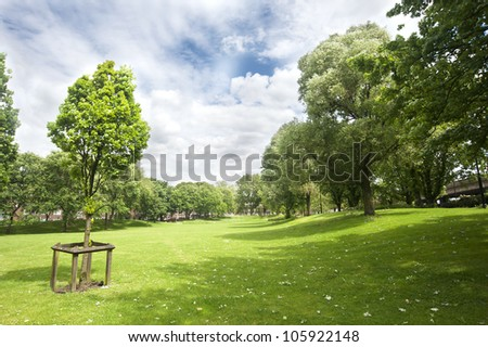 Summer in Westbourne Green Park, London (UK) - stock photo