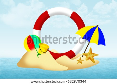 summer island, umbrella, ball, starfish with lifebuoy on beach, space circle