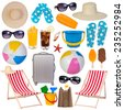 Summer items collection isolated on white background - stock photo
