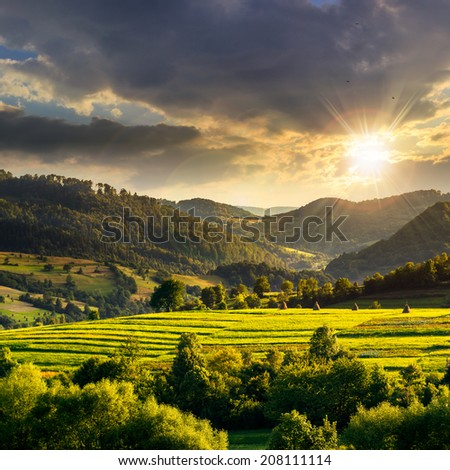 Summer land scape . Stack of hay on a green meadow in the mountains at sunset