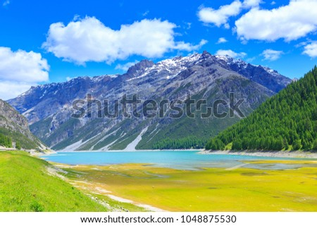 Summer landscape at Lago di Livigno or Lago del Gallo, a reservoir lake in the Livigno valley, Grisons, Lombardy, Italy.