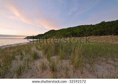 Summer landscape at twilight of the Lake Michigan shoreline at Sleeping Bear Dunes National Lakeshore, Michigan, USA - stock photo