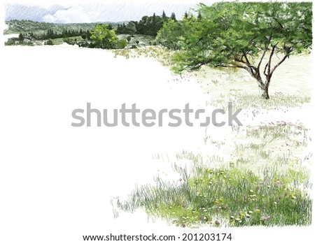 Summer Landscape Hand drawn background picturing an apple tree on a blooming meadow, and forest covered mountains at the horizon.  - stock photo