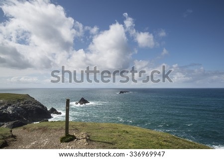 Summer landscape image of Trevose head in Cornwall England