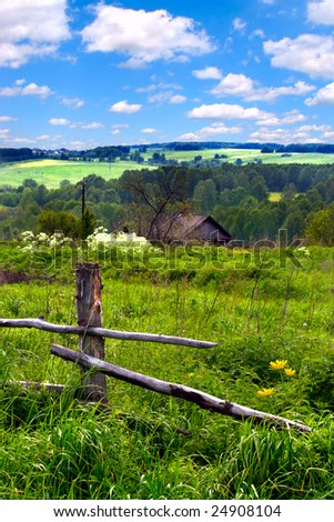 summer landscape in the country side - stock photo