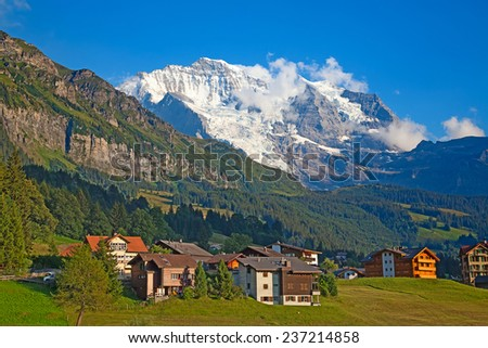 Summer landscape in the Jungfrau region - stock photo