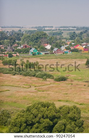 summer landscape, kind from a tower, city Suzdal, Russia