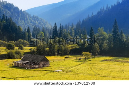Summer landscape. Mountain village in the Ukrainian Carpathians. - stock photo
