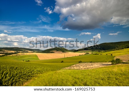summer landscape near Jena with clouded blue sky