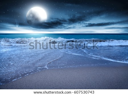 Summer Landscape Of Beach At Night Time