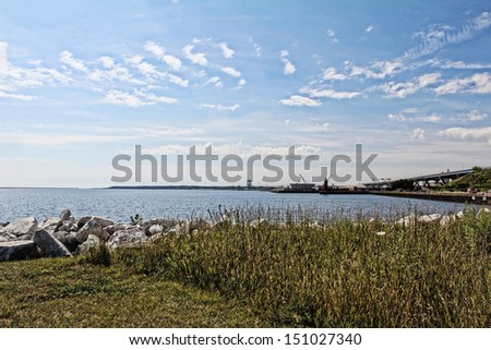 Summer landscape of Lake Michigan and the sky. View from Milwaukee. - stock photo