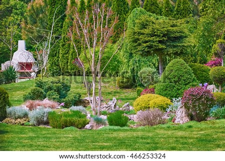 Summer Landscape of the Garden with Different Kinds of Plants
