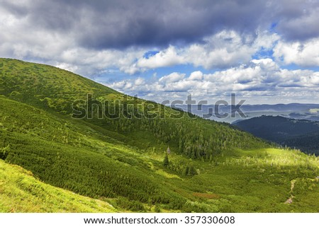 summer landscape of the Montenegrin ridge in Carpathians