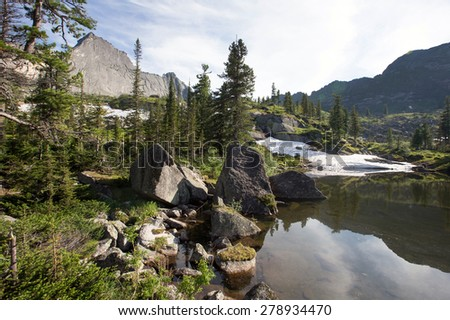 summer landscape pine forest in the mountains of the Western Sayan near Lake Azure on a sunny day - stock photo