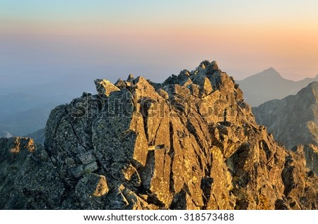 Summer landscape. Sunrise in mountains. View from Baranie Rohy peak in High Tatra Mountains, Slovakia.  - stock photo