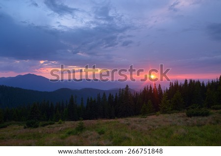 Summer landscape. Sunset in the mountains. Beauty in nature - stock photo