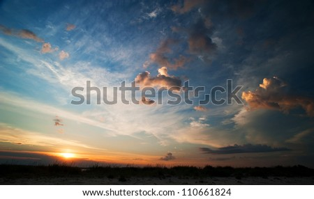 Summer landscape. sunset with clouds on the sky - stock photo