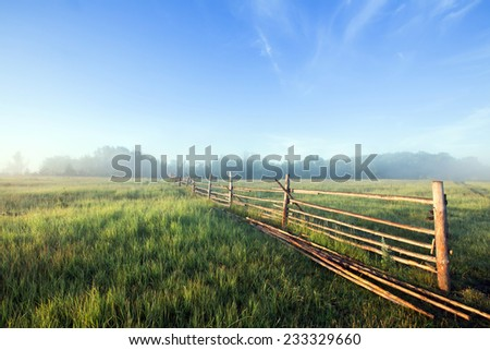 summer landscape thick fog in the field and an old wooden fence  - stock photo