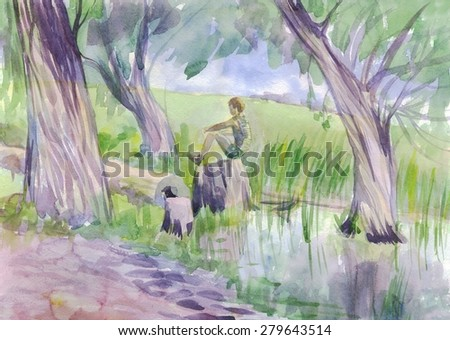 Summer landscape with a boy sitting on a stump near the lake. Painting. Watercolor - stock photo