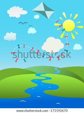 summer landscape with a kite on the blue sky. Raster copy  - stock photo