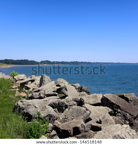Summer landscape with a lake  - stock photo