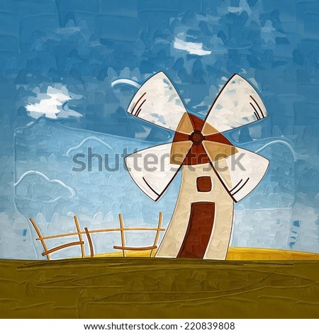 Summer landscape with a wind mil - stock photo