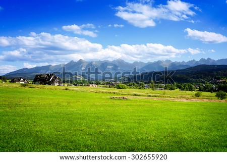 Summer landscape with beautiful mountains - stock photo