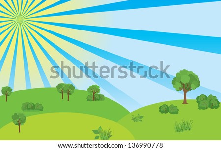 summer landscape with blue sky and sunshine