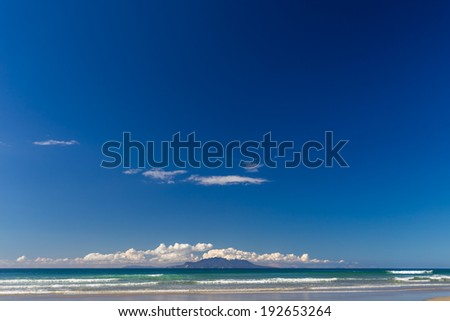 Summer Landscape with Blue Sky on the Pacific Sea Coast, Pakiri Beach, Auckland Region, North Island, New Zealand - stock photo