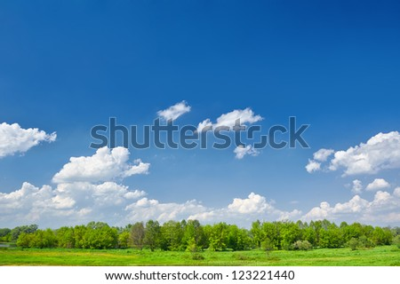 Summer landscape with clouds on the blue sky - stock photo