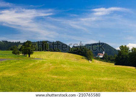 Summer landscape with green grass on a meadow and small hills in the background - stock photo