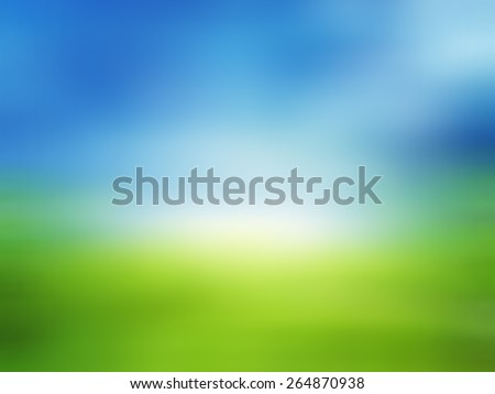 Summer landscape with green grass, road and clouds,nature,abstract blur background for web design,colorful, blurred,texture, wallpaper,illustration - stock photo