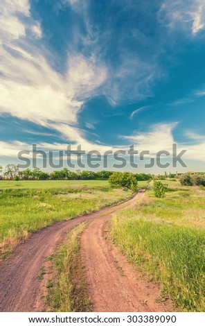 Summer landscape with green grass, road and clouds, retro color. - stock photo