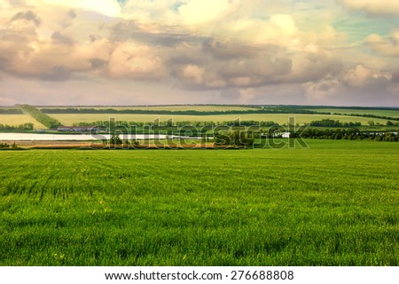 Summer landscape with green grass, trees, small pond and clouds, Ukraine