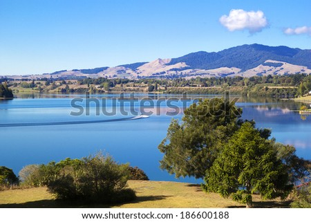 Summer landscape with lake and mount