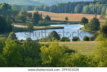 Summer landscape with meadows and lake