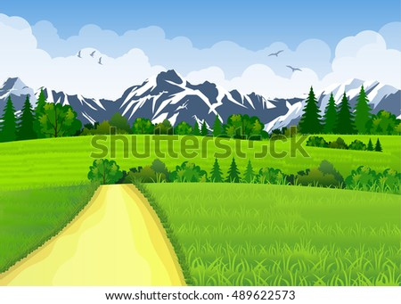 Summer landscape with meadows and mountains. Road and the forest, nature landscape, background. illustration in flat design Raster version