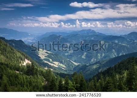 Summer landscape with  mountains and cloudy sky in summer day,Austria.  - stock photo
