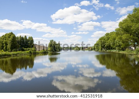 Summer landscape with river at Sunny day.