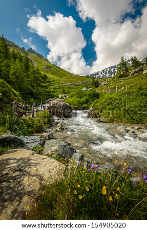 Summer landscape with river in mountain valley . - stock photo