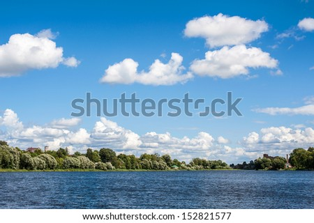 summer landscape with river lake and forest