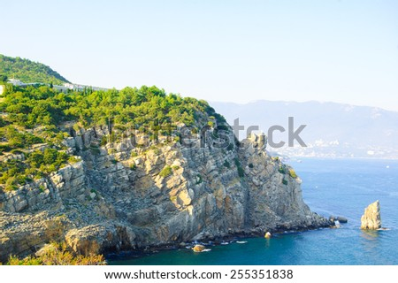 Summer Landscape with Rocky Coast. Southern Coast of Crimea, Ukraine - stock photo
